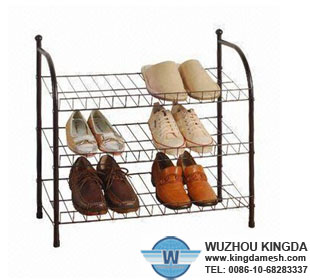 Metal mesh shoe rack
